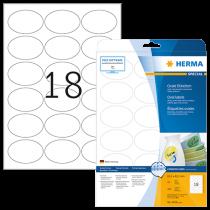 Avtagbara etiketter Herma 63,5x42,3 mm oval 450/fp